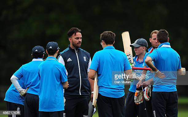 Ross Hunter Head Coach of England Visually Impaired talks to his team during the ECB Blind World Cup Squad Training Camp at The Elms School on...
