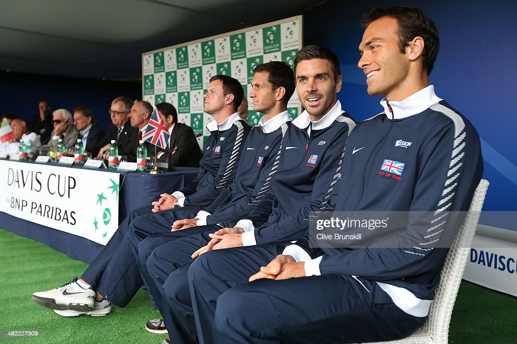 Ross Hutchins,Colin Fleming,James Ward and Team captain Leon Smith wait for the main draw ceremony to begin prior to the Davis Cup World Group Quarter Final match between Italy and Great Britain at Tennis Club Napoli on April 3, 2014 in Naples, Italy.