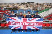 Ross Hutchinsteam captain Leon SmithJames Ward and Colin Fleming of Great Britain pose with the Union Jack after the main draw ceremony prior to the...