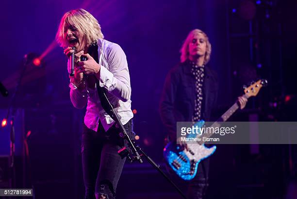 Ross Lynch and Riker Lynch of the band R5 perform live on stage for the 'Sometime Last Night' Tour at the Beacon Theatre on February 27 2016 in New...