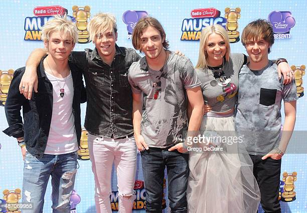 Ross Lynch Riker Lynch Rocky Lynch Rydel Lynch and Ellington Ratliff of R5 arrive at the 2014 Radio Disney Music Awards at Nokia Theatre LA Live on...