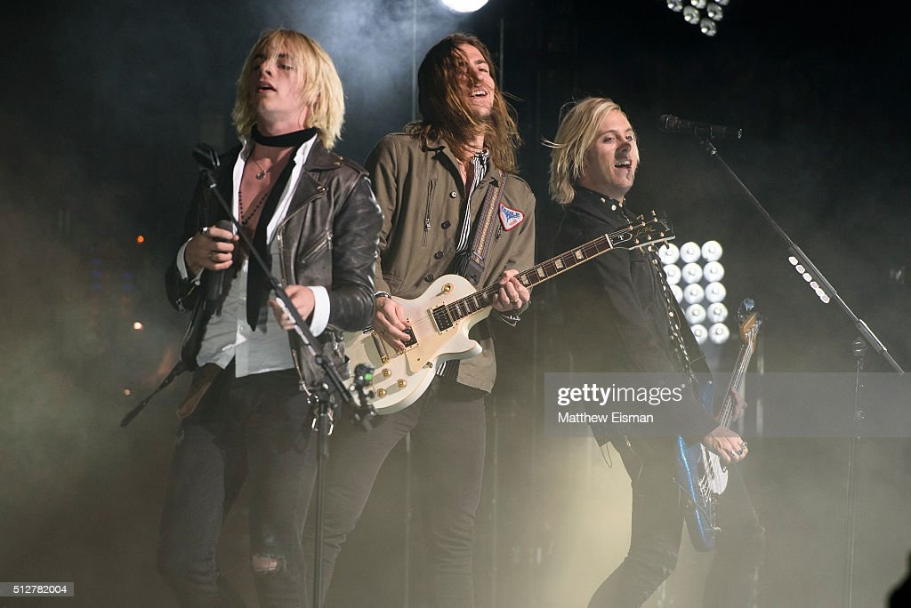 Ross Lynch Rocky Lynch and Riker Lynch of the band R5 perform live on stage for the 'Sometime Last Night' Tour at the Beacon Theatre on February 27...