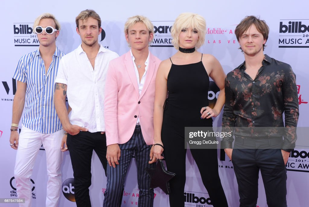 Ross Lynch, Rocky Lynch, Riker Lynch, Rydel Lynch, Ellington Ratliff of R5 arrive at the 2017 Billboard Music Awards at T-Mobile Arena on May 21, 2017 in Las Vegas, Nevada.