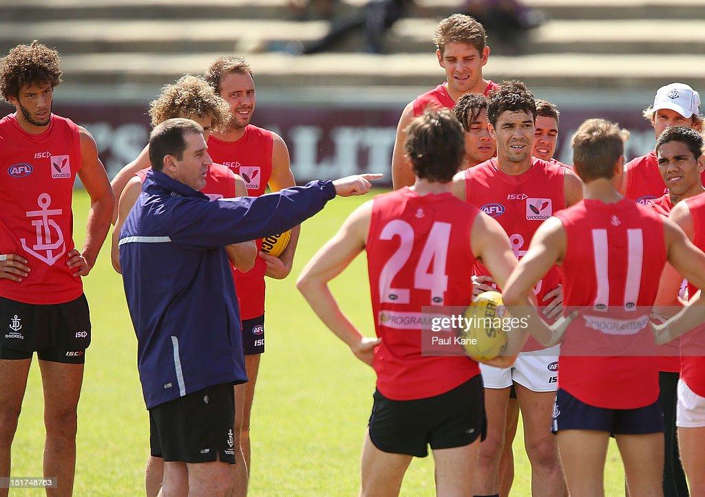Ross Lyon addresses his players during a Fremantle Dockers AFL training sessions at Fremantle Oval on September 11, 2012 in Fremantle, Australia.