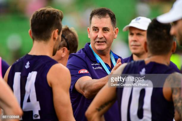Ross Lyon coach of the Dockers addresses the team at quarter time during the AFL 2017 JLT Community Series match between the Fremantle Dockers and...