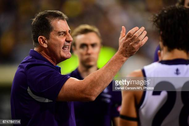 Ross Lyon coach of the Dockers addresses the team at quarter time during the 2017 AFL round 06 match between the West Coast Eagles and the Fremantle...