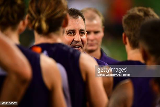 Ross Lyon coach of the Dockers addresses the team at three quarter time during the AFL 2017 JLT Community Series match between the Fremantle Dockers...