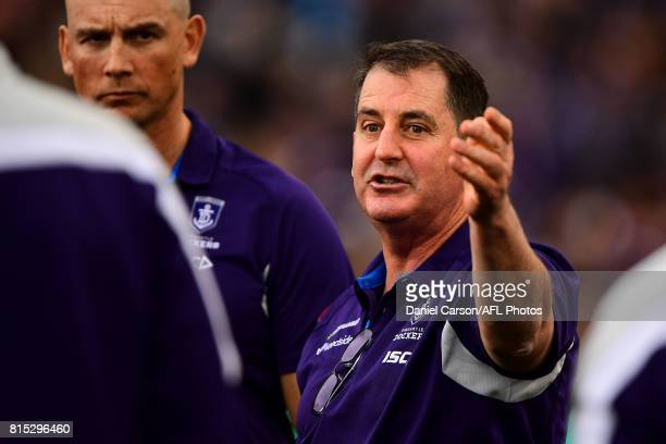 Ross Lyon coach of the Dockers addresses the team at three quarter time during the 2017 AFL round 17 match between the Fremantle Dockers and the West...
