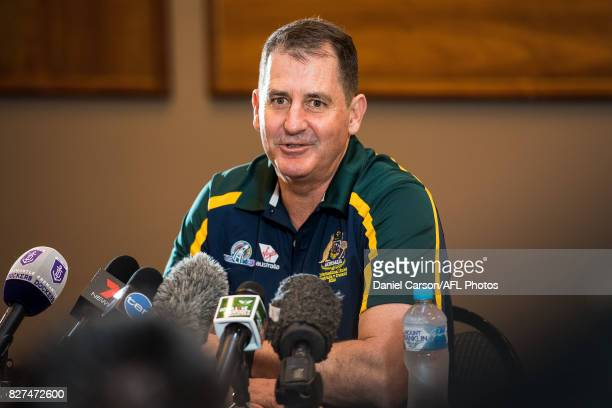 Ross Lyon coach of the Dockers and Australian assistant coach takes questions from the the floor during the media conference to confirm match dates...