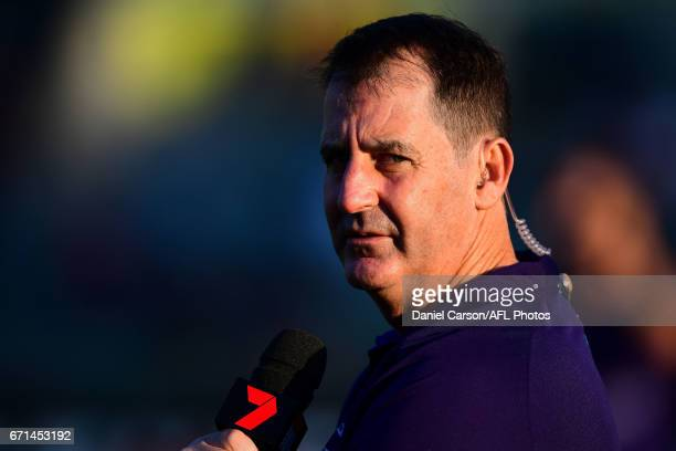 Ross Lyon coach of the Dockers is interviews on the field during the 2017 AFL round 05 match between the Fremantle Dockers and the North Melbourne...