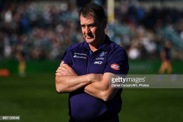 Ross Lyon coach of the Dockers looks on at warmup during the 2017 AFL round 11 match between the Fremantle Dockers and the Collingwood Magpies at...