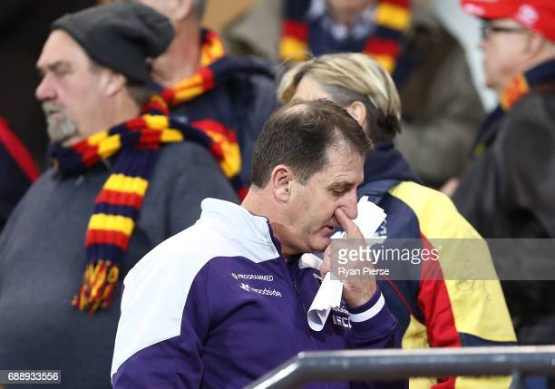 Ross Lyon coach of the Dockers looks on during the round 10 AFL match between the Adelaide Crows and the Fremantle Dockers at Adelaide Oval on May 27...