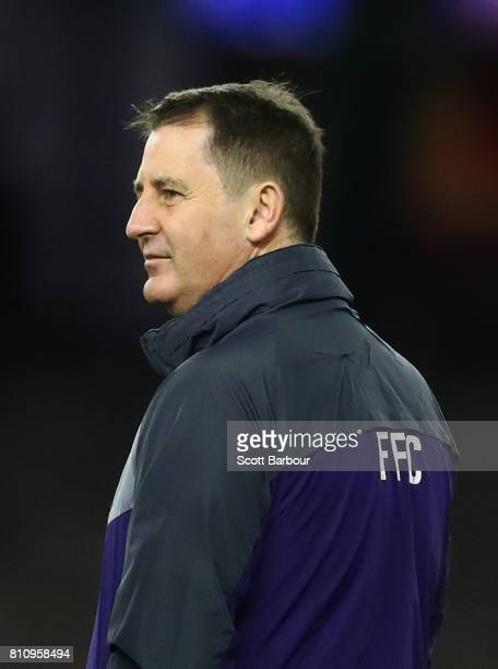 Ross Lyon coach of the Dockers looks on during the round 16 AFL match between the North Melbourne Kangaroos and the Fremantle Dockers at Etihad...