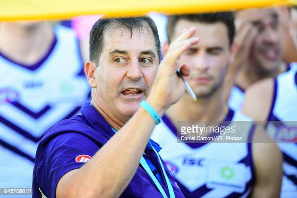 Ross Lyon of the Dockers addresses the team at quarter time during the AFL 2017 JLT Community Series match between the West Coast Eagles and the...