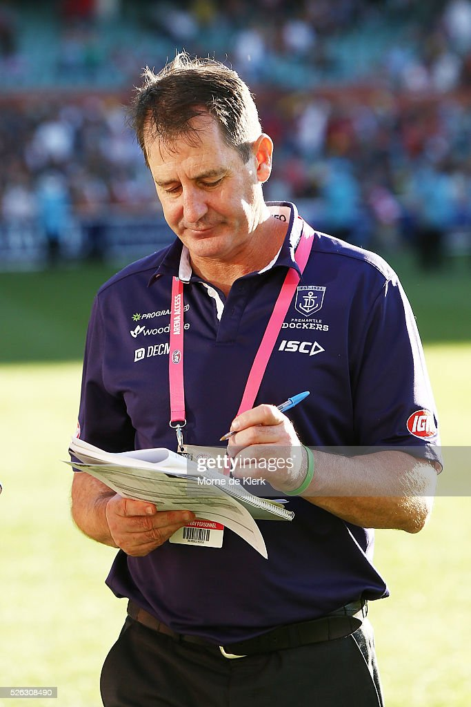Ross Lyon of the Dockers come from the field after the round six AFL match between the Adelaide Crows and the Fremantle Dockers at Adelaide Oval on April 30, 2016 in Adelaide, Australia.