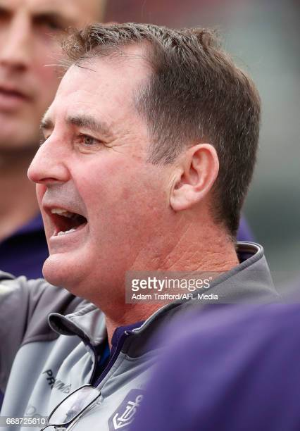 Ross Lyon Senior Coach of the Dockers addresses his players during the 2017 AFL round 04 match between the Melbourne Demons and the Fremantle Dockers...