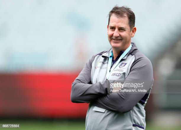 Ross Lyon Senior Coach of the Dockers looks on during the 2017 AFL round 04 match between the Melbourne Demons and the Fremantle Dockers at the...