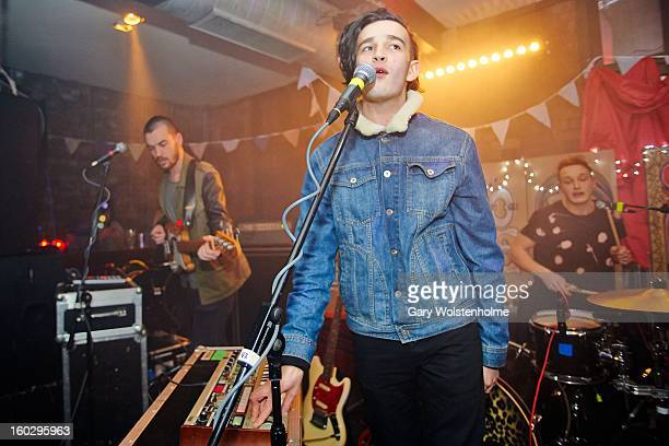 Ross MacDonald Matthew Healy and George Daniel of The 1975 perform on stage at Soyo on January 28 2013 in Sheffield England