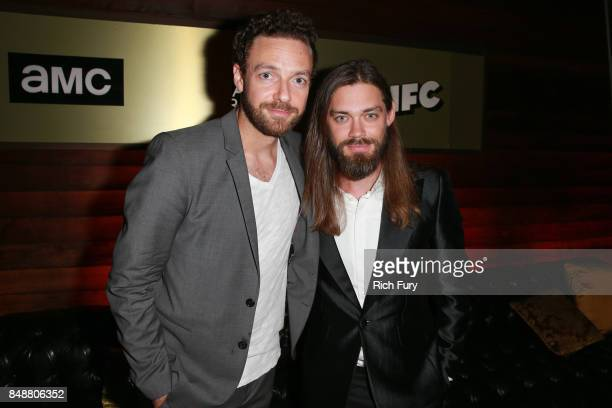 Ross Marquand and Tom Payne attend the AMC Networks 69th Primetime Emmy Awards AfterParty Celebration at BOA Steakhouse on September 17 2017 in West...