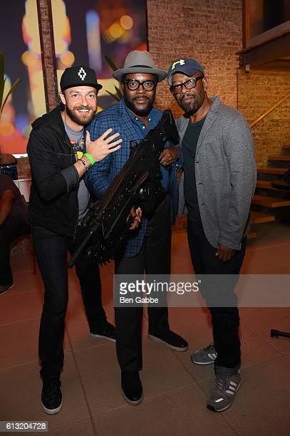 Ross Marquand Chad Coleman and Lennie James attend the Xbox Gears Of War 4 New York launch event at The Microsoft Loft on October 7 2016 in New York...