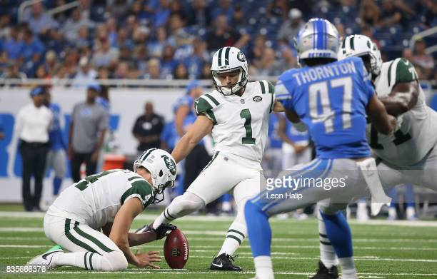 Ross Martin of the New York Jets makes a third quarter field goal during the preseason game against the Detroit Lions on August 19 2017 at Ford Field...