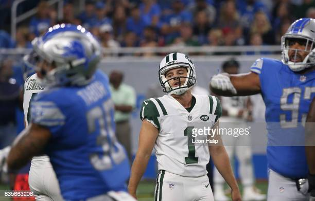 Ross Martin of the New York Jets reacts after missing a field goal attempt during the second quarter of the preseason game against the Detroit Lions...