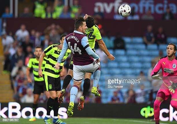Ross McCormack of Aston Villa scores his sides first goal during the Sky Bet Championship match between Aston Villa and Huddersfield Town at Villa...