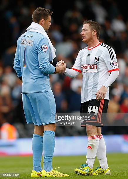 Ross McCormack of Fulham shakes hands with David Marshall of Cardiff City at the end of the Sky Bet Championship match between Fulham and Cardiff...