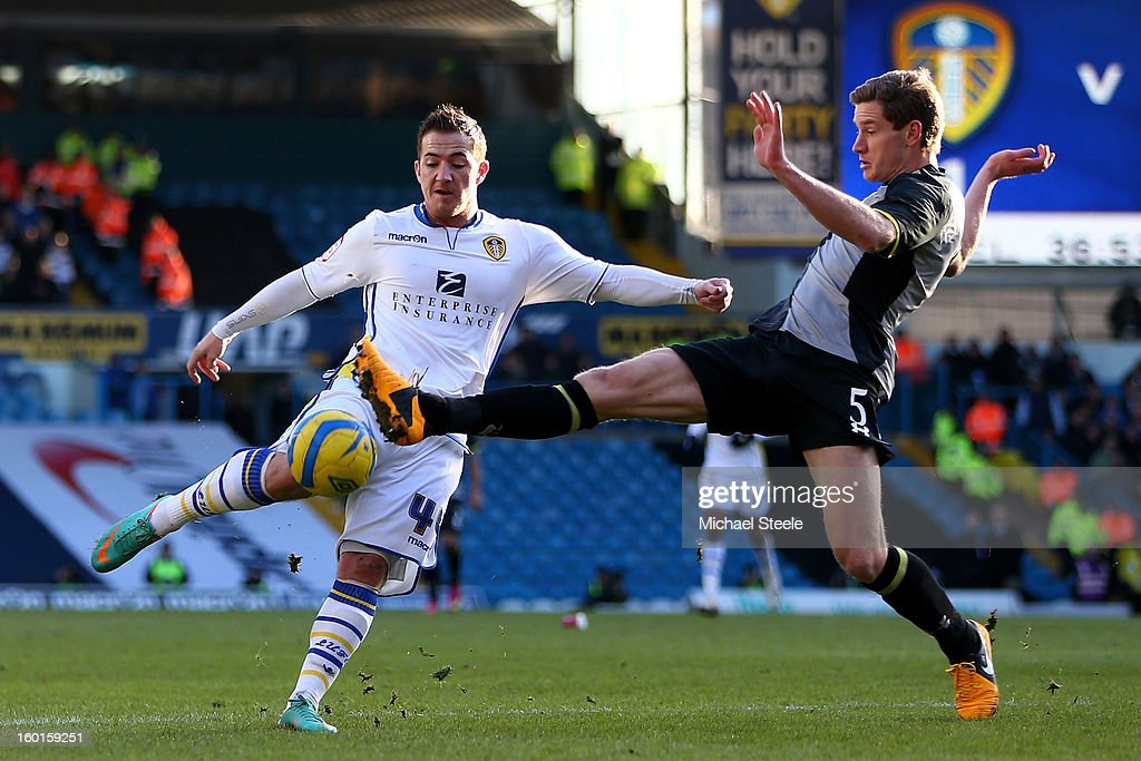 Ross McCormack of Leeds attempts to shoot past the challenge from Jan Vertonghen of Spurs during the FA Cup with Budweiser Fourth Round match between Leeds United and Tottenham Hotspur at Elland Road on January 27, 2013 in Leeds, England.