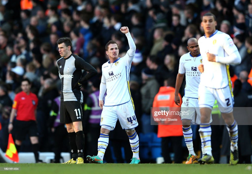 Ross McCormack of Leeds celebrates after scoring his team's second goal during the FA Cup with Budweiser Fourth Round match between Leeds United and Tottenham Hotspur at Elland Road on January 27, 2013 in Leeds, England.