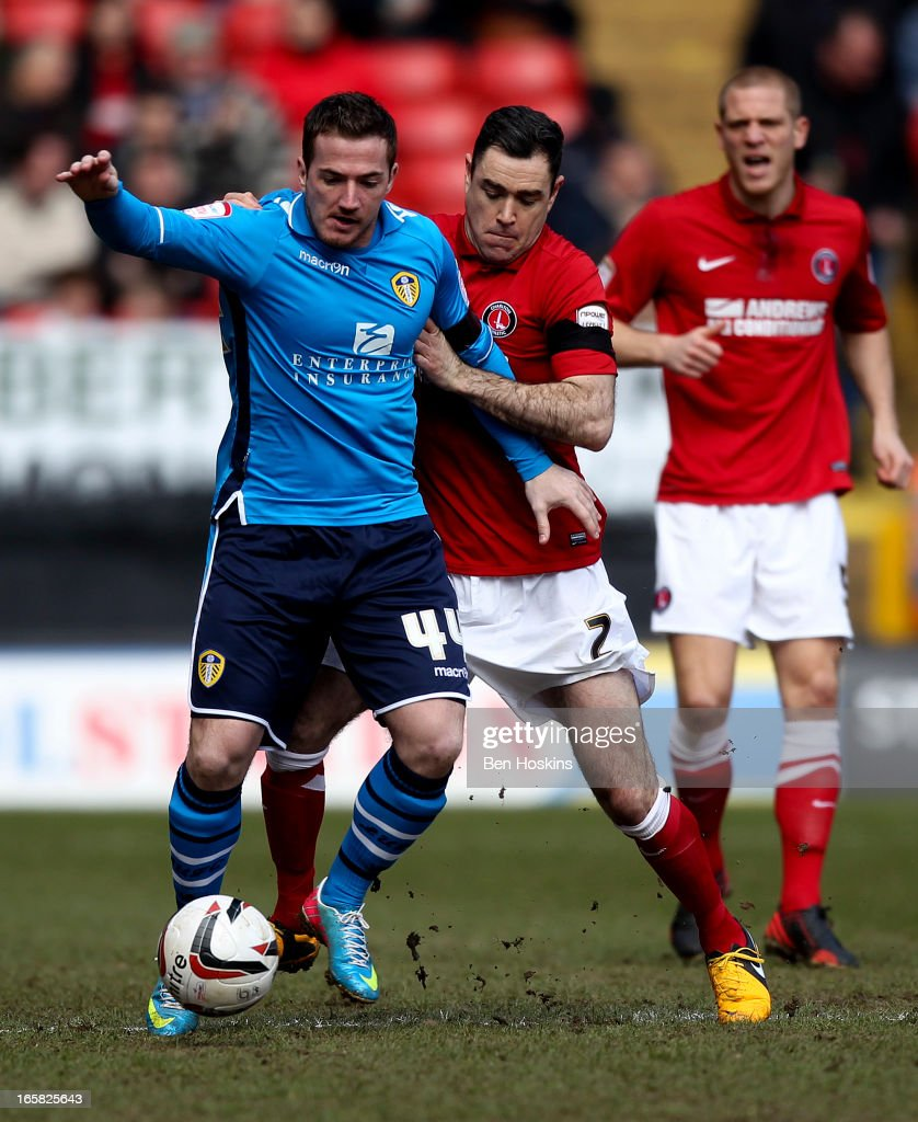 Ross McCormack of Leeds holds off the challenge of Andy Hughes of Charlton during the npower Championship match between Charlton Athletic and Leeds United at the Valley on April 06, 2013 in London, England.