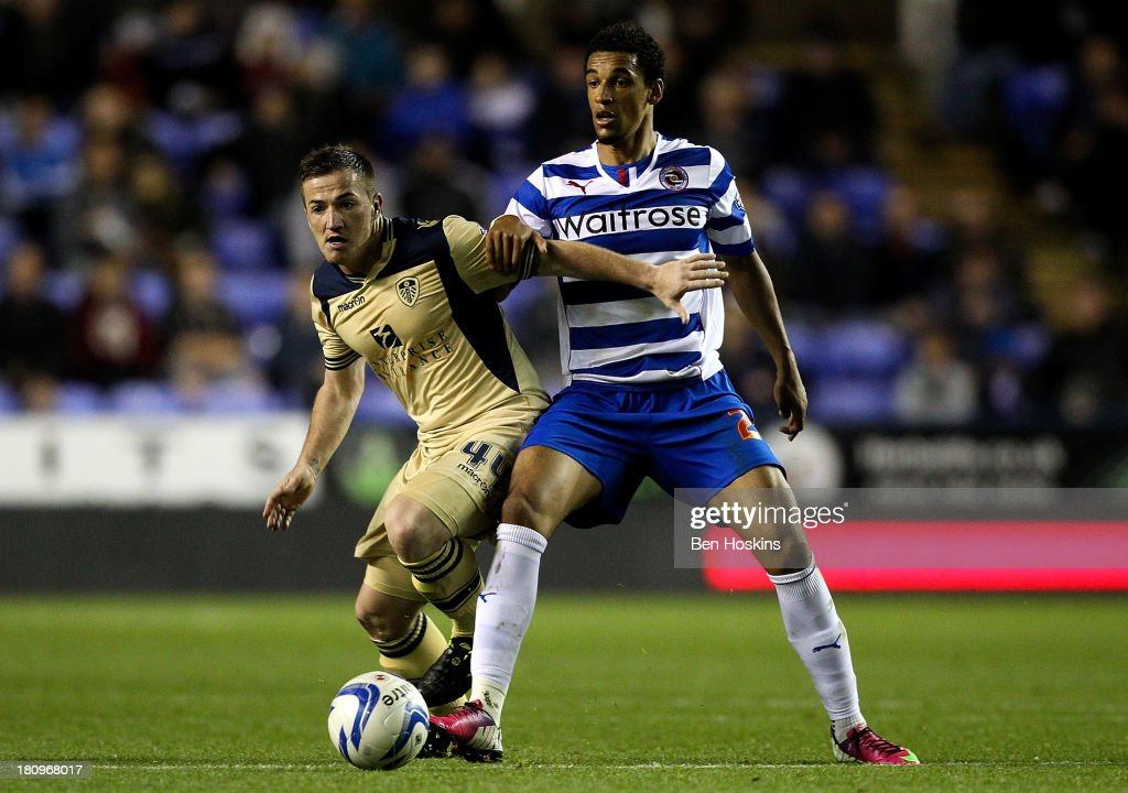 Ross McCormack of Leeds holds off the challenge of Nick Blackman of Reading during the Sky Bet Championship match between Reading and Leeds United at Madejski Stadium on September 18, 2013 in Reading, England.