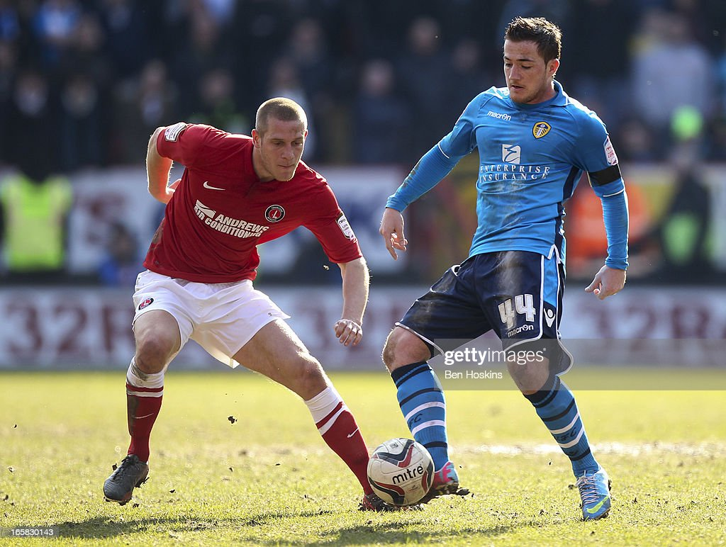 Ross McCormack of Leeds passes under pressure from Michael Morrison of Charlton during the npower Championship match between Charlton Athletic and Leeds United at the Valley on April 06, 2013 in London, England.