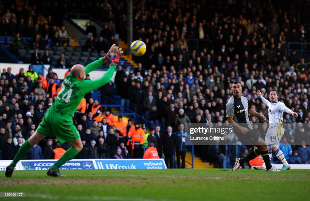 Ross McCormack of Leeds scores his team's second goal past Brad Friedel of Spurs during the FA Cup with Budweiser Fourth Round match between Leeds United and Tottenham Hotspur at Elland Road on January 27, 2013 in Leeds, England.
