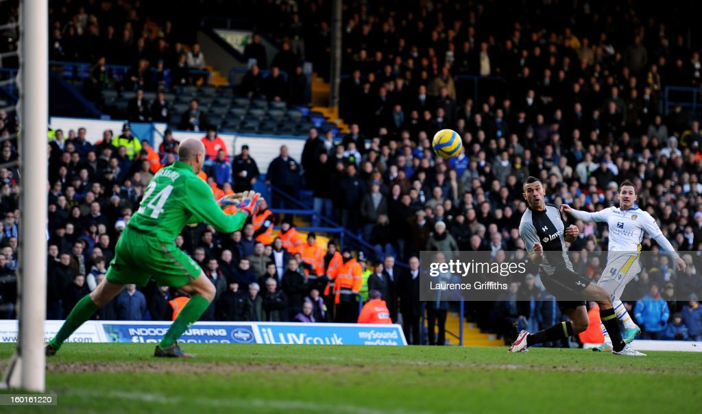 Ross McCormack of Leeds scores his team's second goal past <a gi-track='captionPersonalityLinkClicked' href=/galleries/search?phrase=Brad+Friedel&family=editorial&specificpeople=210857 ng-click='$event.stopPropagation()'>Brad Friedel</a> of Spurs during the FA Cup with Budweiser Fourth Round match between Leeds United and Tottenham Hotspur at Elland Road on January 27, 2013 in Leeds, England.
