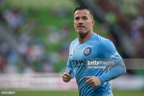 Ross McCormack of Melbourne City looks tot he crowd for support during Round 6 of the Hyundai ALeague Series between Melbourne City and the Western...