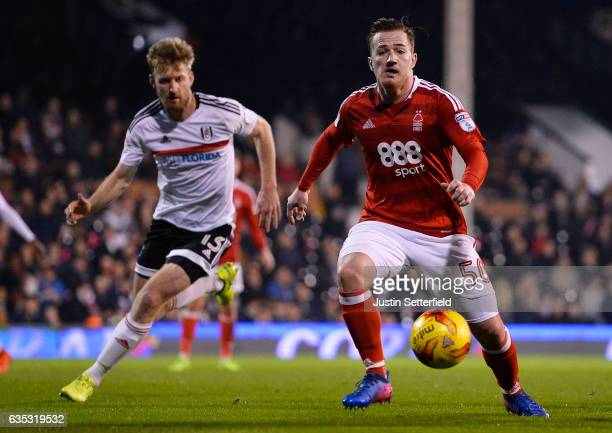 Ross McCormack of Nottingham Forest and Tim Ream of Fulham in action during the Sky Bet Championship match between Fulham and Nottingham Forest at...