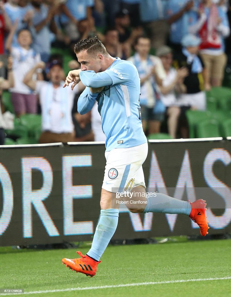 Ross McCormack of the City celebrates after he scored his penalty kick during the round six A-League match between Melbourne City and the Western Sydney Wanderers at AAMI Park on November 12, 2017 in Melbourne, Australia.