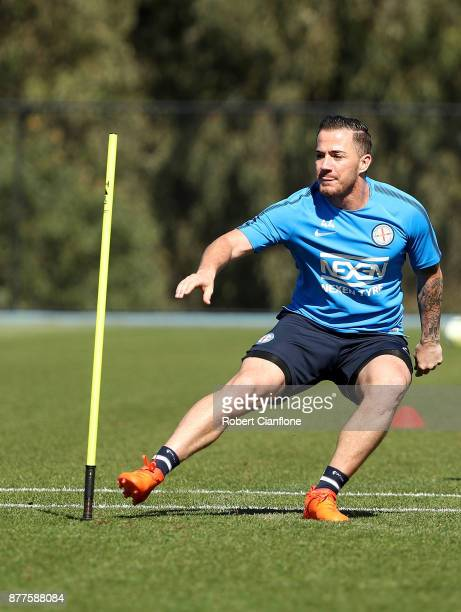 Ross McCormack of the City runs during a Melbourne City ALeague training session at City Football Academy on November 23 2017 in Melbourne Australia