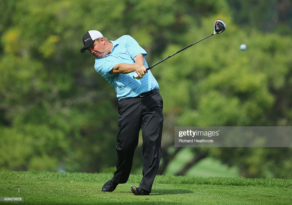 Ross McGowan of England tees off on the 9th hole on the West Course during day two of the Joburg Open at Royal Johannesburg and Kensington Golf Club on January 15, 2016 in Johannesburg, South Africa.
