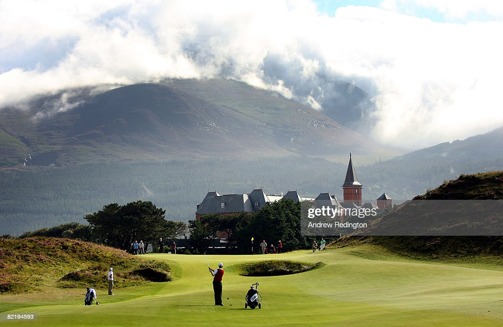 Ross McLister of Wales hits his third shot on the ninth hole during the afternoon's play at the Boys Home Internationals at Royal County Down Golf...