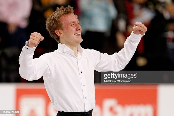 Ross Miner celebrates after finishing his routine while competing in the Championship Mens Free Skate during the US Figure Skating Championships at...