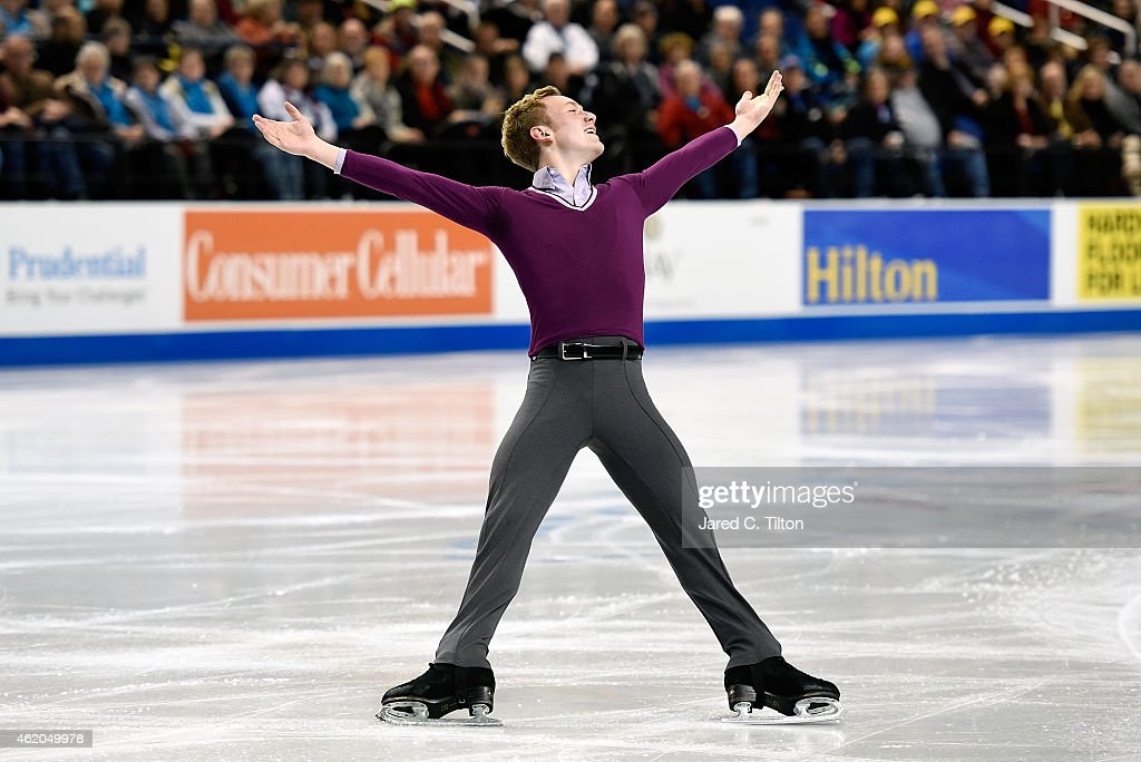 <a gi-track='captionPersonalityLinkClicked' href=/galleries/search?phrase=Ross+Miner&family=editorial&specificpeople=7462475 ng-click='$event.stopPropagation()'>Ross Miner</a> competes in the Championship Men's Short Program Competition during day 2 of the 2015 Prudential U.S. Figure Skating Championships at Greensboro Coliseum on January 23, 2015 in Greensboro, North Carolina.