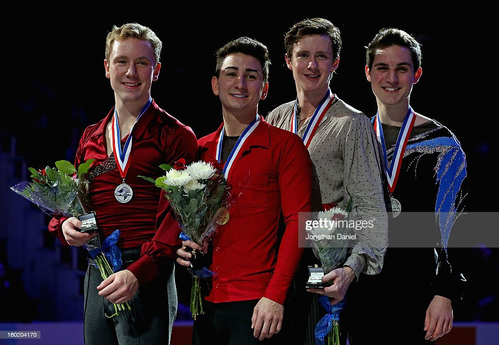 Ross Miner, Max Aaron, Jeremy Abbott and Joshua Farris pose on the winner's stand after the Men's Free Skate competition during the 2013 Prudential U.S. Figure Skating Championships at CenturyLink Center on January 27, 2013 in Omaha, Nebraska.