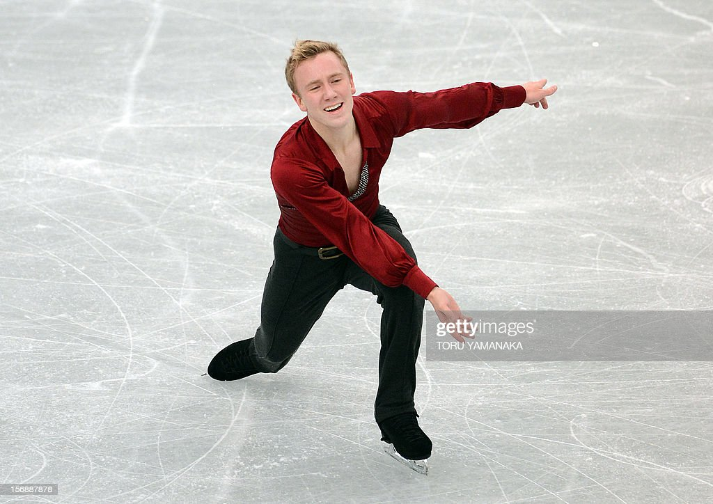 Ross Miner of the US performs during the men's free skating in the NHK Trophy, the last leg of the six-stage ISU figure skating Grand Prix series, in Rifu, northern Japan, on November 24, 2012. Miner won the bronze medal. AFP PHOTO/Toru YAMANAKA
