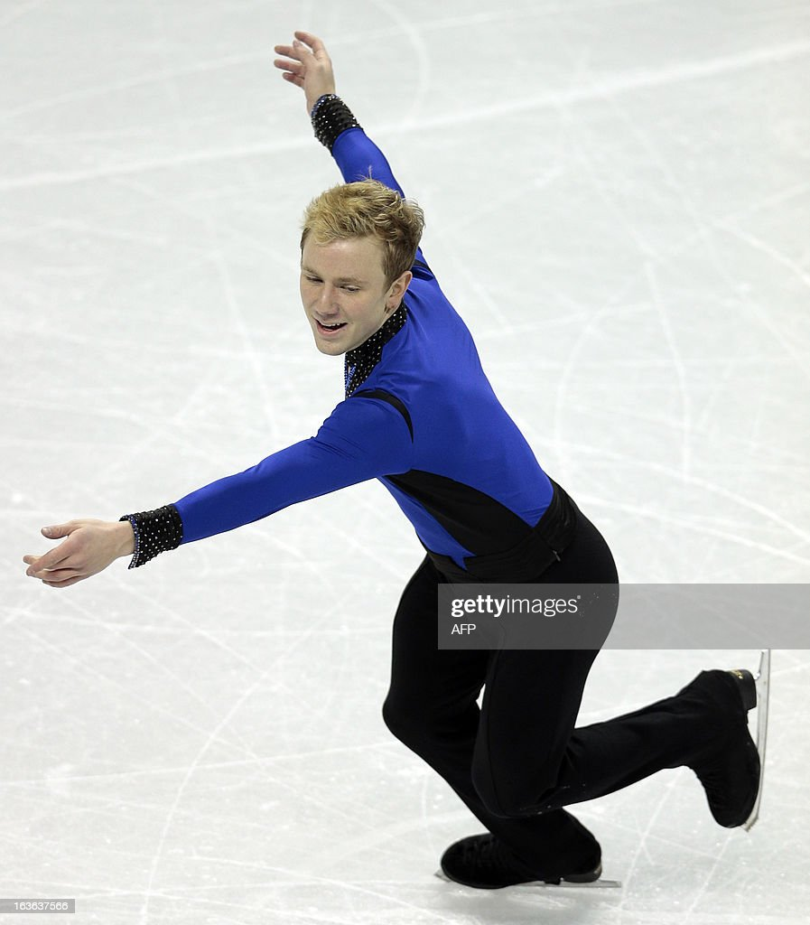 Ross Miner of the US performs in the Men's Short Program during the 2013 World Figure Skating Championships in London, Ontario, March 13, 2013. AFP PHOTO / Geoff Robins