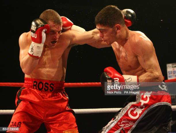 Ross Minter and Michael Jennings in action during the WBU Welterweight Title bout at ExCel Arena London