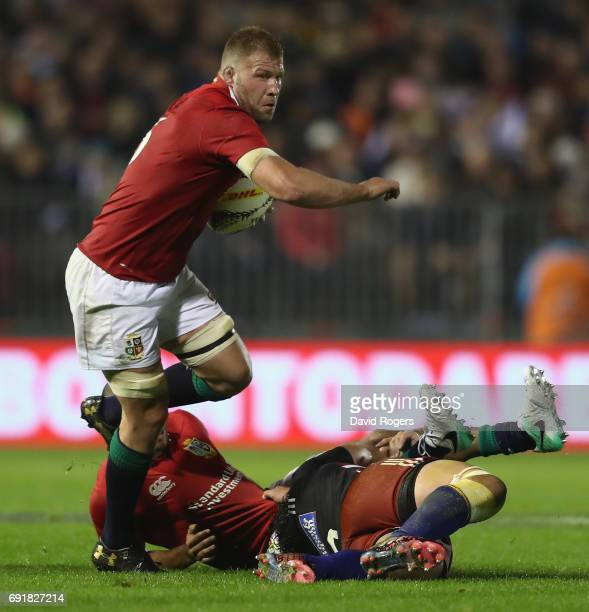 Ross Moriariy of the Lions breaks with the ball during the match between the New Zealand Provincial Barbarians and the British Irish Lions at Toll...