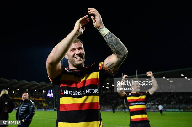 Ross Moriarty of Gloucester celebrates his side's victory during the European Rugby Challenge Cup Semi Final match between La Rochelle and Gloucester...