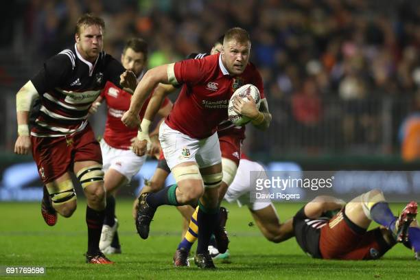 Ross Moriarty of the British Irish Lions makes a break during the 2017 British Irish Lions tour match between the New Zealand Provincial Barbarians...